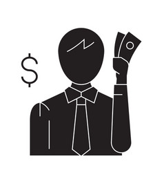 thinking about money black concept icon vector image