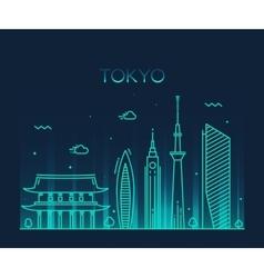 Tokyo City Trendy line art vector