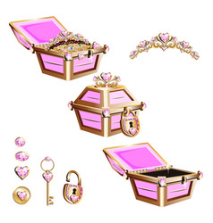treasure chest with pink jewelry and tiara vector image