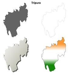 Tripura blank detailed outline map set vector