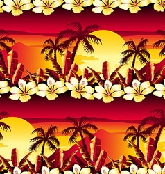 Tropical golden sunset with hibiscus flowers vector