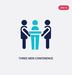 Two color three men conference icon from behavior vector