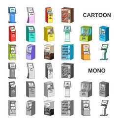 variety of terminals cartoon icons in set vector image
