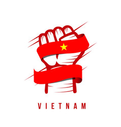 Vietnam hand and flag template design vector