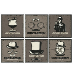 vintage gentleman club brochures vector image