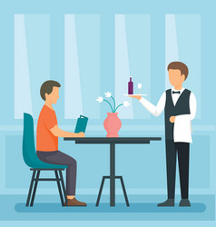 Waiter concept background flat style vector