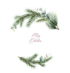 Watercolor christmas wreath with fir vector