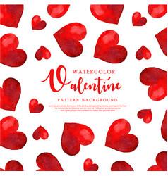 Watercolor valentine heart pattern vector
