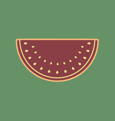 Watermelon sign cordovan icon and mellow vector