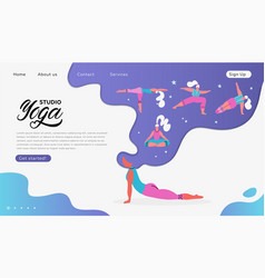 web page template yoga studio modern flat vector image