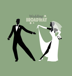 Wedding dance bride and groom dancing broadway vector