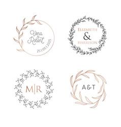 wedding wreaths laurels logos luxury monogram vector image