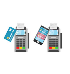 wireless payment by credit card using pos terminal vector image
