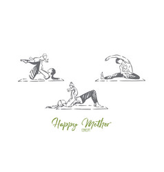 women with toddlers doing gymnastics family vector image