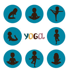 yoga poses silhouettes icons set vector image