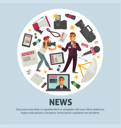 breaking news poster for journalism profession of vector image vector image