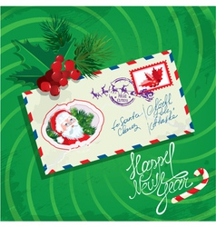 Christmas and New Year card with envelope christma vector image vector image