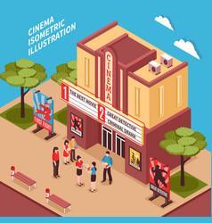 Cinema building isometric composition vector