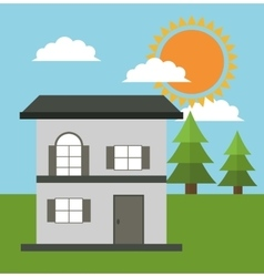 family house cottage energy eco solar vector image