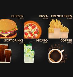 fast food restaurant menu burger pizza french vector image