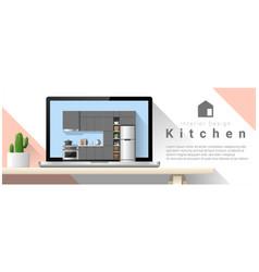 modern kitchen interior design background vector image vector image
