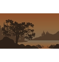 Night Landscape Mountains River and Trees vector image