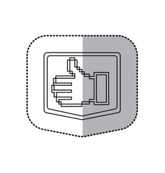 sticker emblem contour of pixel hand showing vector image
