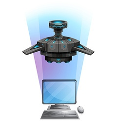 Computer screen with spaceship flying vector image