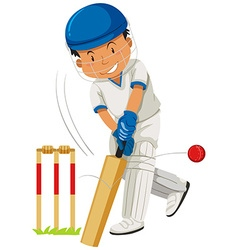 Cricket player hitting ball with bat vector