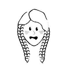 figure pretty woman face with hairstyle vector image vector image