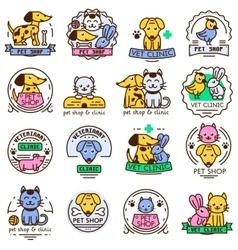 Pet shop badge set vector image
