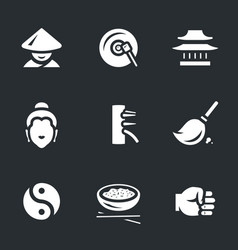 set of shaolin icons vector image