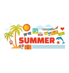 Summer - logo word with icons in flat style vector image