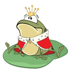 cute green frog king cartoon vector image