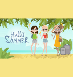 girls on summer beach vacation concept seaside vector image