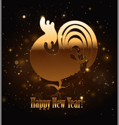 gold rooster symbol of 2017 vector image vector image