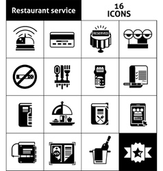 Restaurant Service Icons Black vector image vector image
