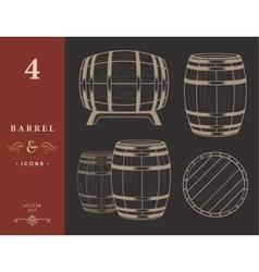 set Barrels in Vintage Style vector image vector image