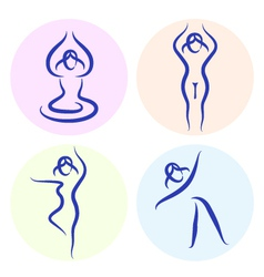 Yoga line silhouette vector image