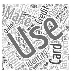computer identity theft text background wordcloud vector image vector image