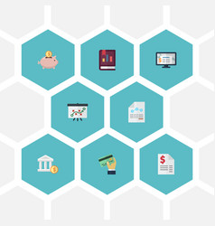 flat icons card paper moneybox and other vector image