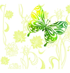 Green color background with watercolor butterflies vector image vector image