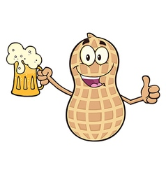Happy Peanut Cartoon with Beer vector image vector image
