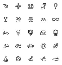 Hipster line icons on white background vector image vector image