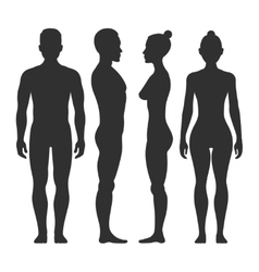Man and woman silhouettes in front side vector image