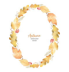 watercolor oval frame of leaves and vector image vector image