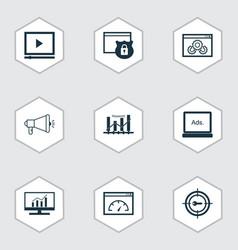 advertising icons set with website protection vector image