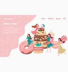 bakery shop landing page with baked goods cakes vector image