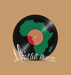 black vinyl disk with silhouette africa vector image