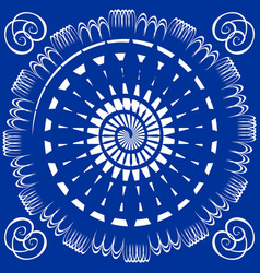blue tile with white circle spiral decor vector image